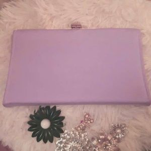 Vintage Lilac Sateen Evening Bag / Clutc